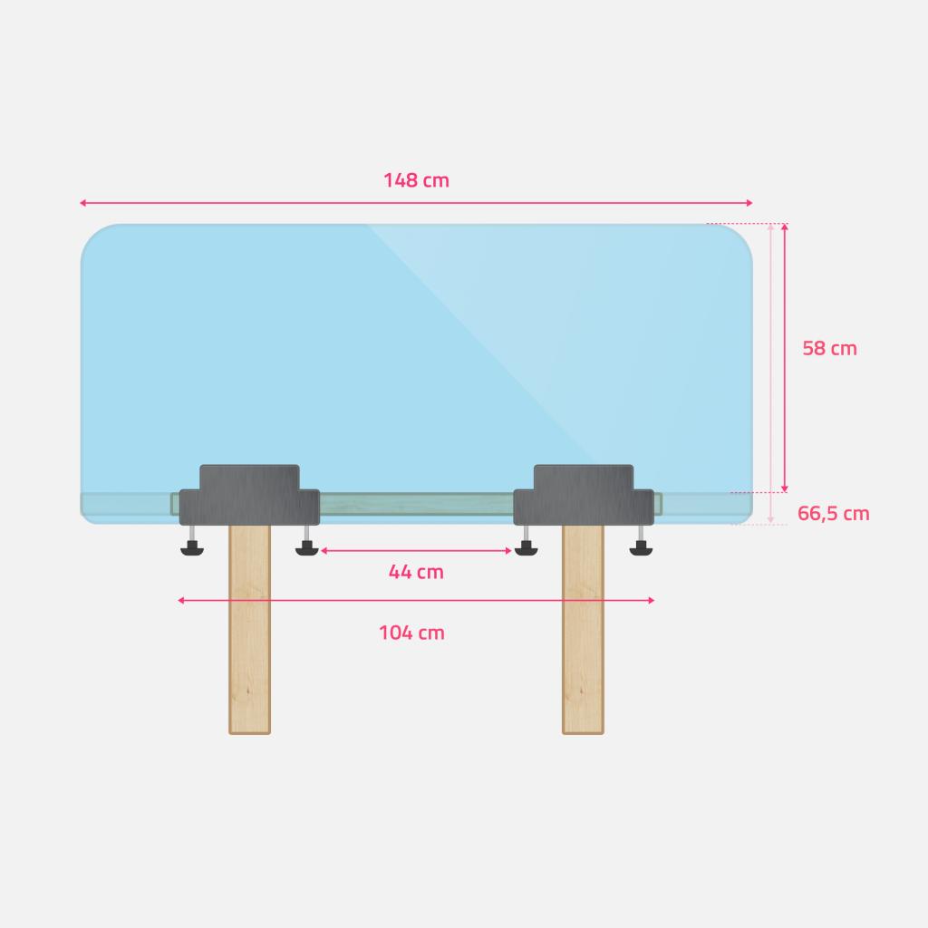 Ecran de bureau ou de table en plexiglass grand dimensions