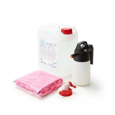 Ensemble de desinfection pour plaques de plexiglass